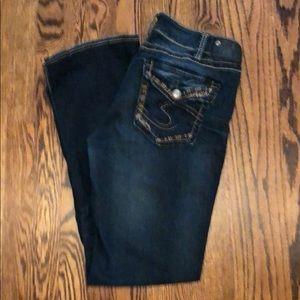 Women's Silver Suki boot cut jeans. Size 31/33.